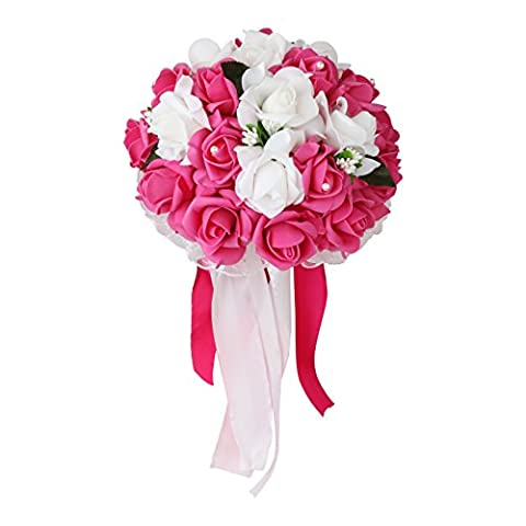 Vlovelife Mix White & Fuchsia Rose Wedding Bouquet Bridal Bridesmaid Artificial Foam Rose Flower Handmade Posy Rhinestone Pearl Lace Satin Ribbon Decor