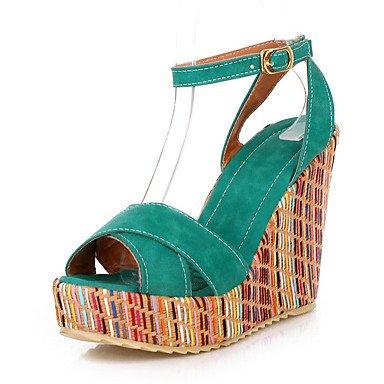 LvYuan Damen-Sandalen-Büro Kleid Party & Festivität-Kunstleder-Keilabsatz-Club-Schuhe-Blau Gelb Grün Orange Mandelfarben Blue