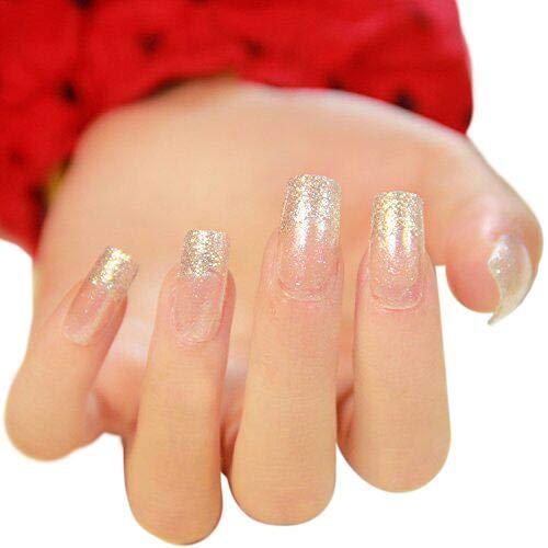 Weihnachten YuNail Kunstnägel 24 Stück 12 verschiedene Größen Silber Glitzer Quadrat French Manicure Kunstnägel Lang, ganze Oberfläche
