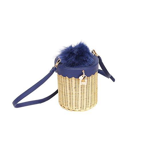 Biback borsa a tracolla intrecciata a mano da donna paglia intrecciata in paglia intrecciata tote corda in pelle a rattan intrecciata vintage con decorazione di pelliccia borsa a tracolla singola