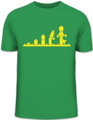 Shirtstreet24, EVOLUTION BAUSTEINE Funshirt, Größe: L, kelly green -