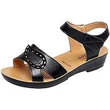 Sandalias para Mujer de Verano Sandalias de Cuero Cuñas Confort Zapatos de Gran tamaño Zapatos Ocasionales
