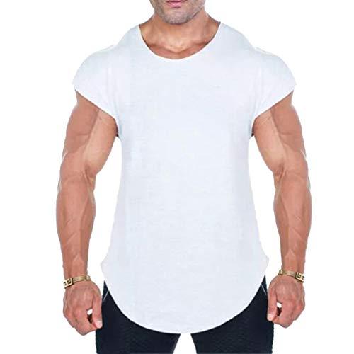 WEIMEITE Fitness Tank Top Herren Gyms Stringer Muscle Shirt Trainingsweste Bodybuilding Ärmelloses T-Shirt Singuletts Weiß XL