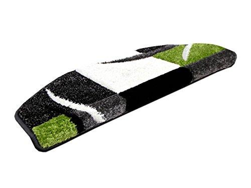 Designer-Stufenmatte Maui Grün Karo (halbrund) einzeln oder im 15er Set, Größe:24x65 cm = 1 Stck.