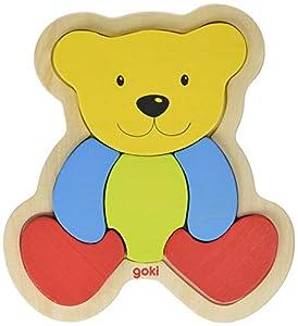 Einlegepuzzle Bär: 17 x 20 cm, Holz, 6 Teile, per Stück