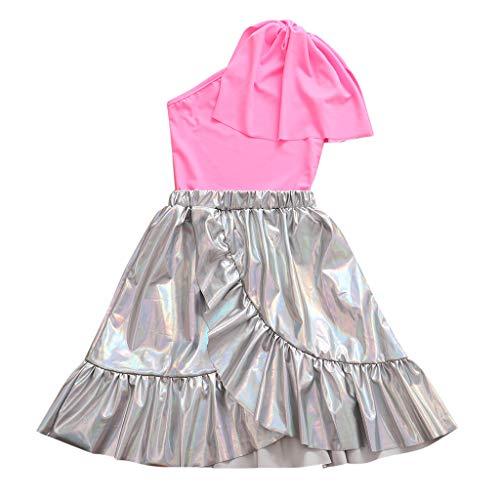 Julhold Kleinkind Kinder Baby Mädchen Einfach Elegantes Outfit Kleidung One Shoulder Shirt Top + Rüschen Rock Set 1-7 Jahre