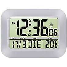 DeliaWinterfel Reloj de Pared con Alarma, Snooze, Calendario y Temperatura, Radio controlados by