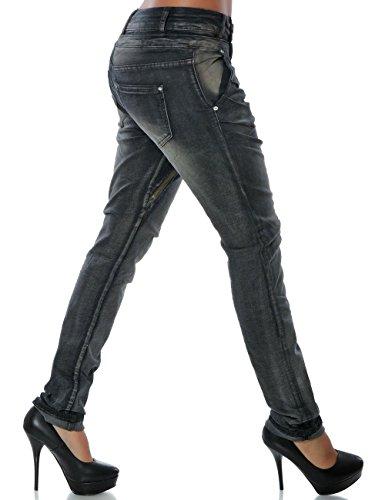 Daleus Damen Boyfriend Jeans Hose Reißverschluss Knopfleiste (Weitere Farben) No 14145