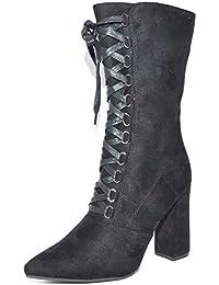 4fedd7ec1e1d93 Malu Shoes Tronchetto Donna in CAMOSCIO Nero Stringato A Punta Tacco Largo  Glamour Zip