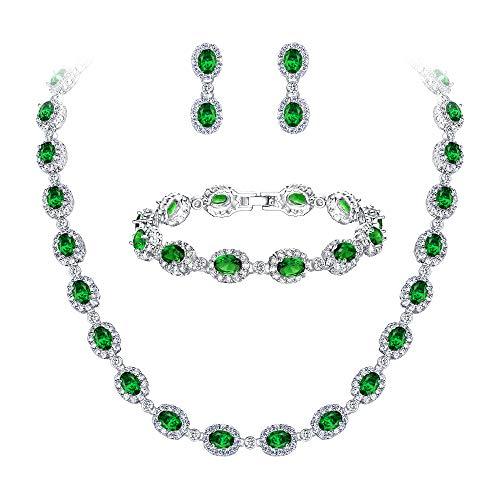 Ever Faith Damen CZ Hochzeit Braut Oval Teardrop Halskette Ohrringe Armband Set Grün Silber-Ton
