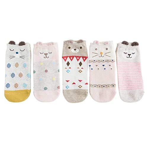 Lifeney 5 Paar Baumwolle Damen Socken niedliche Tiere Füßlinge Sommer Socken - Sneaker Socken - Sportsocken mit Highlight (niedliche Tiere Muster)