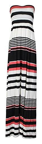 Mischen Sie viele neue Frauen-Scher sammeln boobtube Bandeau Maxi Kleid ärmellos Damen Sommer trägerlosen sexy Strand weißen Kiwi teal Druck plus size casual wear Kleid 44-50 (XL/XXL 48-50, Mehrfarb) (Baumwolle Maxi-kleid Druck)