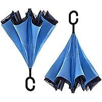 KHSKX Donne, uomini e automatico doppia inversa ombrello manubrio ombrello, ombra ombrelloni all'aperto inversa ombrello, robusto e portatile