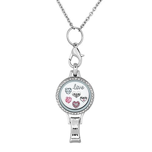 Lanyard ID Abzeichen Halter Halskette mit Love Mom Family Floating Charms Medaillon Anhänger Clip farblos ()
