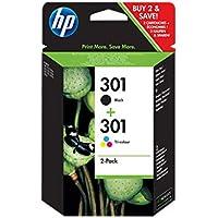 HP 301 N9J72AE Cartucce Originali, 355 Pagine, per Stampanti a Getto di Inchiostro HP DeskJet 1050, 2540, 3050, HP OfficeJet 2620, 4630 e HP ENVY 4500, 5530, Confezione da 2, Nero/Tricromia