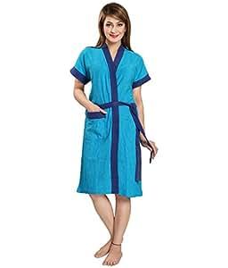 Superior Women's Cotton FeelBlue Double-Shaded Bathrobes (Firozi-Blue, Free Size)