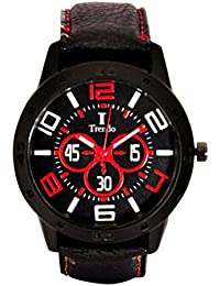 Tendro Analogue Black Round Dial Leather Strap Casual Wrist Watch For Boys & Men's