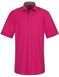 Eterna Herrenhemd Kurzarm Baumwoll Hemd Baumwollhemd Herren Business Modern Fit Pink