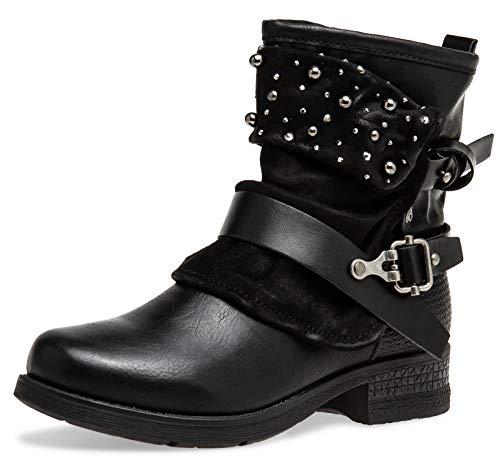 Caspar SBO094 Damen Vintage Gamaschen Boots mit Perlen Strass Dekor, Farbe:schwarz, Größe:38 EU