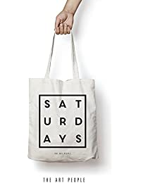 Saturday's Tote Bag Reusable Grocery Bag Machine Washable Canvas Shopping Bags With Long Handy Straps – Eco Friendly...