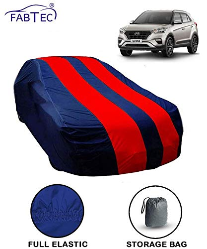 Fabtec Car Body Cover for Hyundai Creta Red & Blue Colour with Storage Bag + Microfiber Glove Combo!