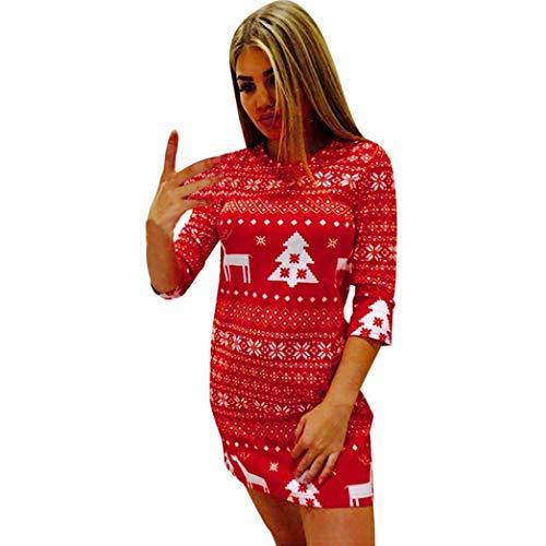 ESAILQ Frau Weihnachten Weihnachten Deer Printed Floral Kleid(M,Rot)
