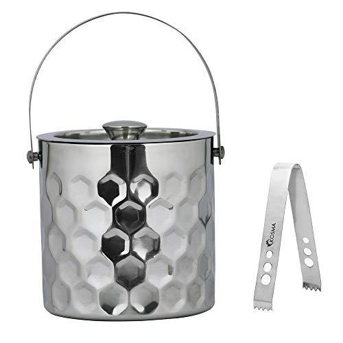 Kosma Designer-Eiswürfelbehälter aus Edelstahl, doppelwandig, 1,5 l, gehämmerte Oberfläche
