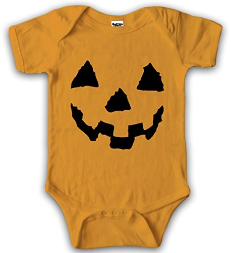 (Crazy Dog Tshirts - Baby Pumpkin Face Halloween JackoLantern Bodysuit Creeper for Infants (orange) Newborn - Baby-Jungen - Newborn)