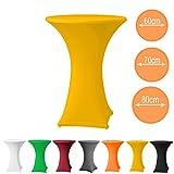 Stehtischhusse Stretch PREMIUM Qualität in Farbe gelb und Durchmesser 70-75 für Bistrotisch/Stehtisch