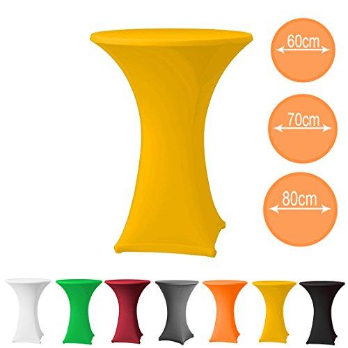 Stehtischhusse Stretch PREMIUM Qualität in Farbe gelb und Durchmesser 60-65 für Bistrotisch/Stehtisch