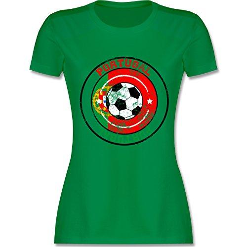 EM 2016 - Frankreich - Portugal Kreis & Fußball Vintage - tailliertes Premium T-Shirt mit Rundhalsausschnitt für Damen Grün