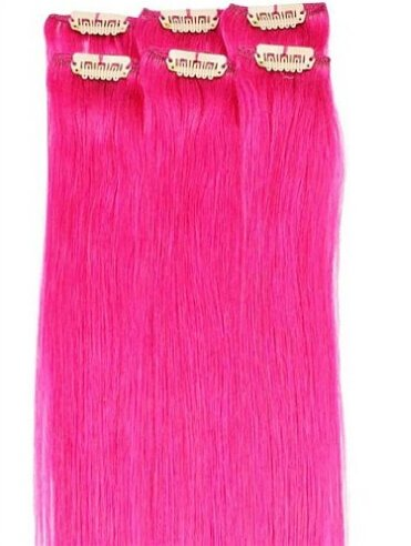 Romantic angels 45,7 cm Virgin Remy Echthaar Full Head Clip in Hair Extensions 100 g 100 Set (Hair Pink Extensions)