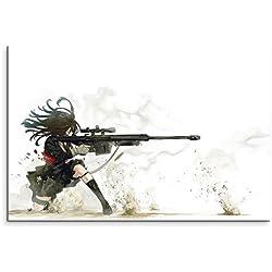 Anime Sniper Girl Wandbild 120x80cm XXL Bilder und Kunstdrucke auf Leinwand