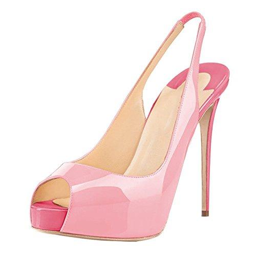 Arc-en-Ciel Damenschuhe Plattform-Absatz Peep Toe leichte Rücken Sandalen Pink