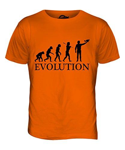 CandyMix Flugzeug Modell Evolution Des Menschen Herren T Shirt Orange