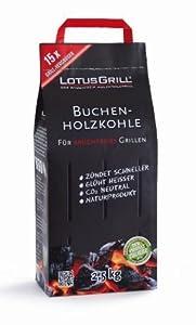 LotusGrill Buchen-Holzkohle 2,5 kg! Speziell entwickelt für den rauchfreien Holzkohlegrill/Tischgrill