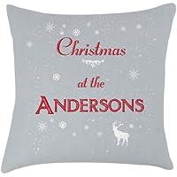Family Christmas nome grigio cuscino