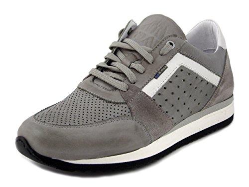 Exton sneaker uomo in pelle e camoscio grigio, 558