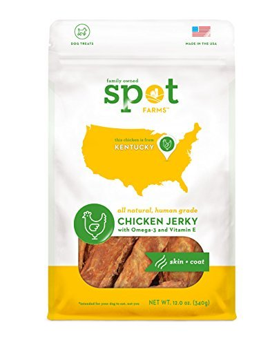 Spot Farms All Natural Human Grade Chicken Jerky Dog Treats, Skin + Coat, 12-Ounce by Spot Farms -