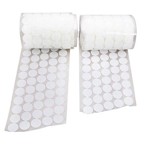 Ecooy 1500 unidades (750 pares) 2 cm de diámetro de monedas adhesivas con gancho y lazo autoadhesivo lunares cintas blanco