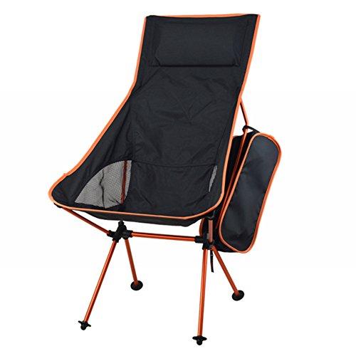 feierna Tragbar Faltbar Campingstuhl, Draußen Verlängert Klein Freizeit Sessel Strandkorb mit Tragetasche für Wandern, Reise, Jagd, Angeln (Orange)