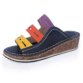 HWTOP Damen Wedges Sandalen Keilpumps Mokassins Slipper Casual Slip On Schuhe Sommerschuhe Vintage Flache Schuhe Hausschuhe Strandschuhe (35 EU, Blau)