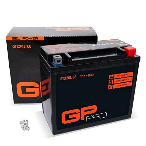 GP-PRO GTX20L-BS 12V 20Ah GEL Batería de arranque (parecido a YTX20L-BS / YTX20HL-BS) (Sin necesidad de mantenimiento/Sellado) Moto Acumulador