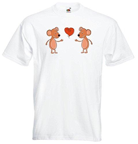 Pinkelephant - T-Shirt Herren weiß - Love Motiv 2 schöne 02 ein Paar liebende Ratte - XXL