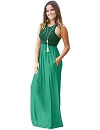 Vestito da Mare Donna Vestiti Lunghi Estivi Eleganti Senza Maniche Sciolto  Girocollo Abiti a Righe Bohemian 1ab9b61ecc1
