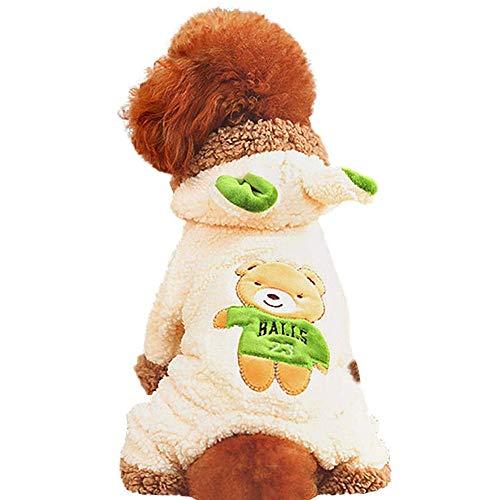 H.JPT Pet Clothes, Small Medium Dog Teddy Dog 4 Leg Thick Wear A Hat Clothes, Cat Bear Clothes (Color : White, Size : M) (Bear Teddy Dog-kostüm)