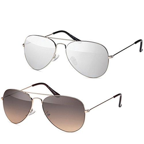2x Sonnenbrille Pilotenbrille Aviator Unisex Sonnen Brille SB-PL10 (Set)