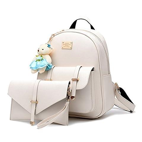 Wewod Mädchen Einfarbige Rucksack Modisch Damen Daypack Schultasche + Umhängetasche mit Kleiner Bär (Weiß)