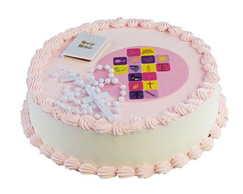 Feste Feiern zur Kommunion I essbarer Torten-Deko Fondant Aufleger Mädchen rosa I Rosenkranz Bibel Kunststoff