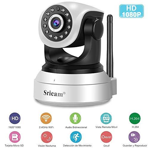 Wifi IP-Kamera, Sricam HD 1080P Drahtlose Innenüberwachungskamera Schwenk- / Neige-IR-Nachtsicht-Bewegungserkennungs-CCTV-System Sicherheit für zu Hause / Baby / Haustier mit Mikrofon und Lautsprecher